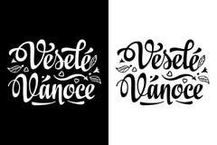 Lettrage de Noël Vesele Vanoce Carte de Noël sur la langue tchèque Photographie stock libre de droits
