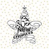 lettrage de nouvelle année de 365 occasions sous la forme de jouet d'arbre d'étoile, cadre des textes de jouet d'arbre d'étoile d Images stock