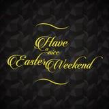 Lettrage de Pâques et message de salutations au-dessus de fond noir Photographie stock