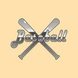 Lettrage de pointillé de base-ball de vecteur et fond de battes de baseball Images libres de droits