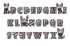 Lettrage de police de zèbre de bande dessinée L'horaire de l'alphabet set illustration stock