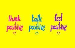 Lettrage de Potitive de vecteur, Lettern tiré par la main coloré et Smiley Faces : Pensez le positif, parlez le positif, positif  illustration de vecteur