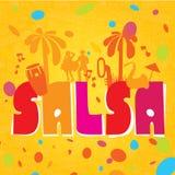 Lettrage de Salsa avec des silhouettes des paumes illustration libre de droits