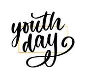 Lettrage de slogan jaune de fond de jour international de la jeunesse images stock