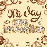 Lettrage de Steampunk Un jour - une invention Citation tirée par la main unique de lettrage dans le style de steampunk Photo libre de droits