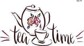 Lettrage de temps de thé dans le vecteur Tasse avec des éléments de conception de remous et rétro théière avec la fleur Photos stock