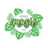 Lettrage de typographie de jour de musique du monde Image libre de droits