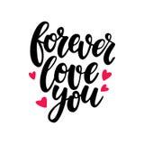 Lettrage de vecteur de jour de Valentine s Amour d'isolement de calligraphie d'écriture Image stock