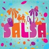 Lettrage de vecteur de Salsa avec des silhouettes des paumes illustration de vecteur