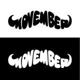 Lettrage de vecteur de forme de moustache de Movember Photo stock