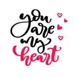 Lettrage de vecteur de jour de Valentine s Calligra d'isolement d'écriture Photographie stock