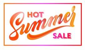 Lettrage de vente d'été dans le cadre Stylo tiré par la main de brosse de calligraphie Images libres de droits