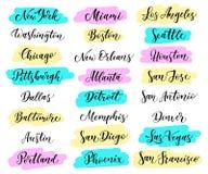 Lettrage de ville des Etats-Unis New York, Miami, Boston, Dallas, Washington, Atlanta, Chicago, Detroit, Baltimore Los Angeles, L Photographie stock