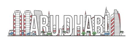 Lettrage de voyage d'Abu Dhabi dans le style linéaire Illustration de Vecteur