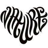 Lettrage de Word de nature d'amour sous forme d'emblème de coeur photographie stock