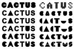 Lettrage différent de cactus pour le logo dans la couleur noire Image stock