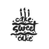 Lettrage doux de calligraphie de gâteau de gâteau Photographie stock