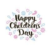 Lettrage du jour des enfants heureux Image libre de droits