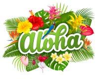 Lettrage et plantes tropicales d'Aloha Hawaii Photographie stock