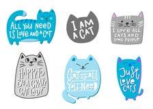 Lettrage fou de citation de chemise de dame de chat d'amour Image libre de droits
