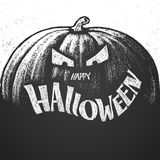 Lettrage heureux de craie de Halloween avec le potiron illustration stock
