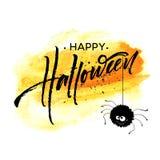 Lettrage heureux de Halloween Calligraphie de vacances pour la bannière, affiche, carte de voeux, invitation de partie Illustrati illustration de vecteur