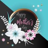 Lettrage heureux de jour de mères Photographie stock libre de droits
