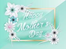 Lettrage heureux de jour de mères Photographie stock