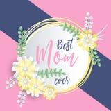 Lettrage heureux de jour de mères Photo stock