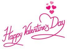 Lettrage heureux de jour de valentines avec des coeurs Images stock