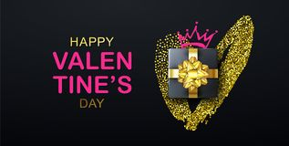 Lettrage heureux de jour de valentines avec le coeur, le boîte-cadeau et la couronne de scintillement La bannière de vacances, af illustration libre de droits