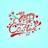 Lettrage heureux de main de Pâques sur le fond de scintillement illustration stock