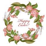 Lettrage heureux de Pâques en cercle, fleurs illustration stock