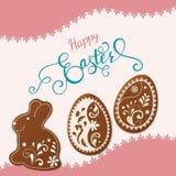 Lettrage heureux de Pâques, pain d'épice sous forme d'oeufs Vacances de ressort, fond de Pâques Photos stock