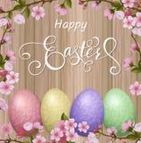 Lettrage heureux de Pâques, pain d'épice sous forme d'oeufs Vacances de ressort, fond de Pâques Image stock