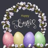 Lettrage heureux de Pâques, pain d'épice sous forme d'oeufs Vacances de ressort, fond de Pâques Images libres de droits