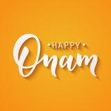 Lettrage heureux de salutation d'Onam Expression de typographie d'encre pour le festival indien Texte noir d'isolement sur l'oran Photos stock