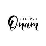 Lettrage heureux de salutation d'Onam Expression de typographie d'encre pour le festival indien Texte noir d'isolement sur le fon Image libre de droits