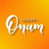 Lettrage heureux de salutation d'Onam Expression de typographie d'encre pour le festival indien Texte noir sur l'orange de fête Photos libres de droits