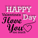 Lettrage heureux de vecteur de jour de valentines Photographie stock