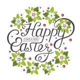 Lettrage heureux de vintage de Pâques pour la carte de voeux illustration stock