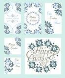Lettrage heureux de vintage de Pâques pour la carte de voeux illustration de vecteur