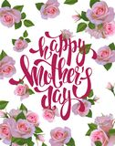 Lettrage heureux du jour de mère Photo libre de droits