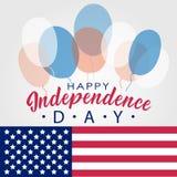 Lettrage heureux indiqué uni de Jour de la Déclaration d'Indépendance Quatrième de conception typographique de juillet aux Etats- Photo stock