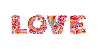 Lettrage hippie psychédélique d'amour avec les fleurs, l'arc-en-ciel, le symbole de paix, les yeux et l'agaric de mouche abstrait Photos stock