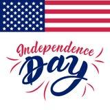Lettrage indiqué uni de Jour de la Déclaration d'Indépendance Quatrième de conception typographique de juillet aux Etats-Unis Ill Photos libres de droits