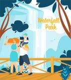 Lettrage informationnel de parc de cascade de bannière illustration stock