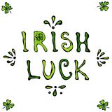 Lettrage irlandais de chance Affiche ou carte de jour de Patriks de saint Images stock
