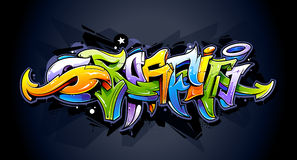 Lettrage lumineux de graffiti Photographie stock