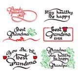 Lettrage manuscrit de grand-maman et de grand-papa Ensemble de jour de grands-parents Photo libre de droits